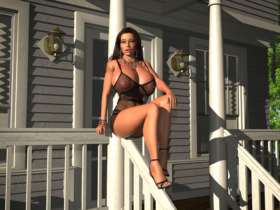 Provokingly dressed bigtitted 3d babe posing outdoors - part 391
