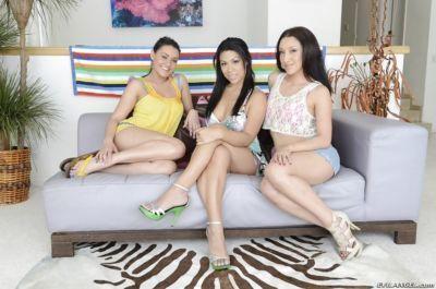 Three bootylicious latina pornstars on high heels stripping together