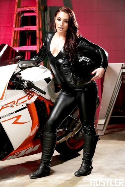 Beauty Mischa Brooks takes off her leather suite to pose naked