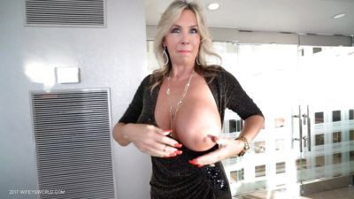 Blonde housewife Sandra Otterson uncovering nice tots wearing black boots - part 2