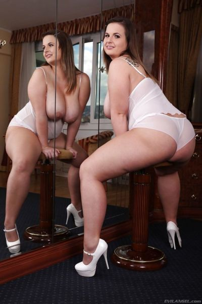 Attractive fatty with big tits Maggie B frolics in front of big mirror - part 2