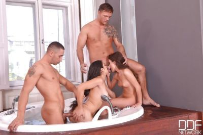 Wet Euro chicks take ass fucking in bath before cum swapping blowjob - part 2