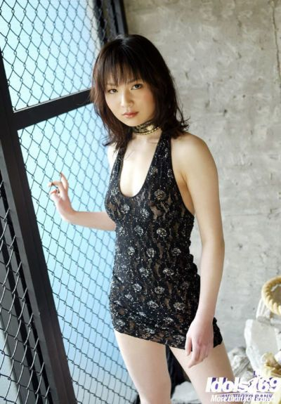 Tempting asian cutie with tiny tits has no lingerie under her dress