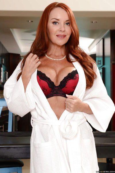 Amazing undressing scene features big tits mom Janet Mason