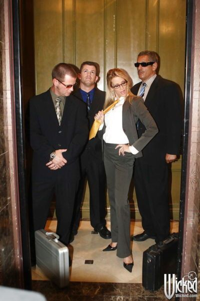 Horny office babe in glasses Jessica Drake gets blowbanged by three guys