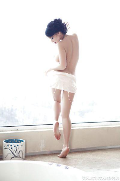Centerfold babe Anie shows off her European ass in a bathroom - part 2