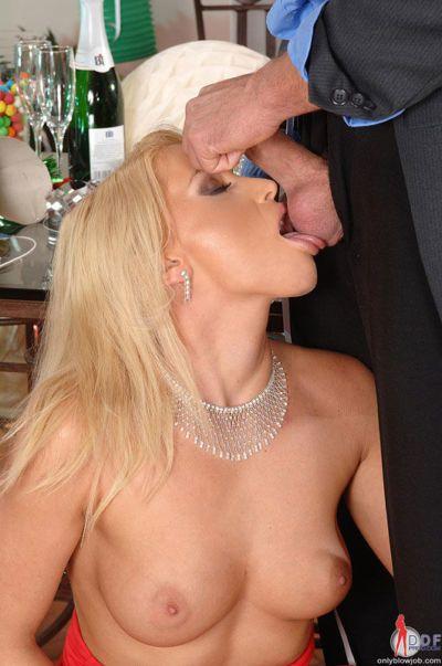 Blonde party girl Kathia Nobili seducing man with ball licking blowjob - part 2
