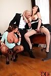 Chesty office workers Emma Butt & Tigerr Benson take anal sex during 3some